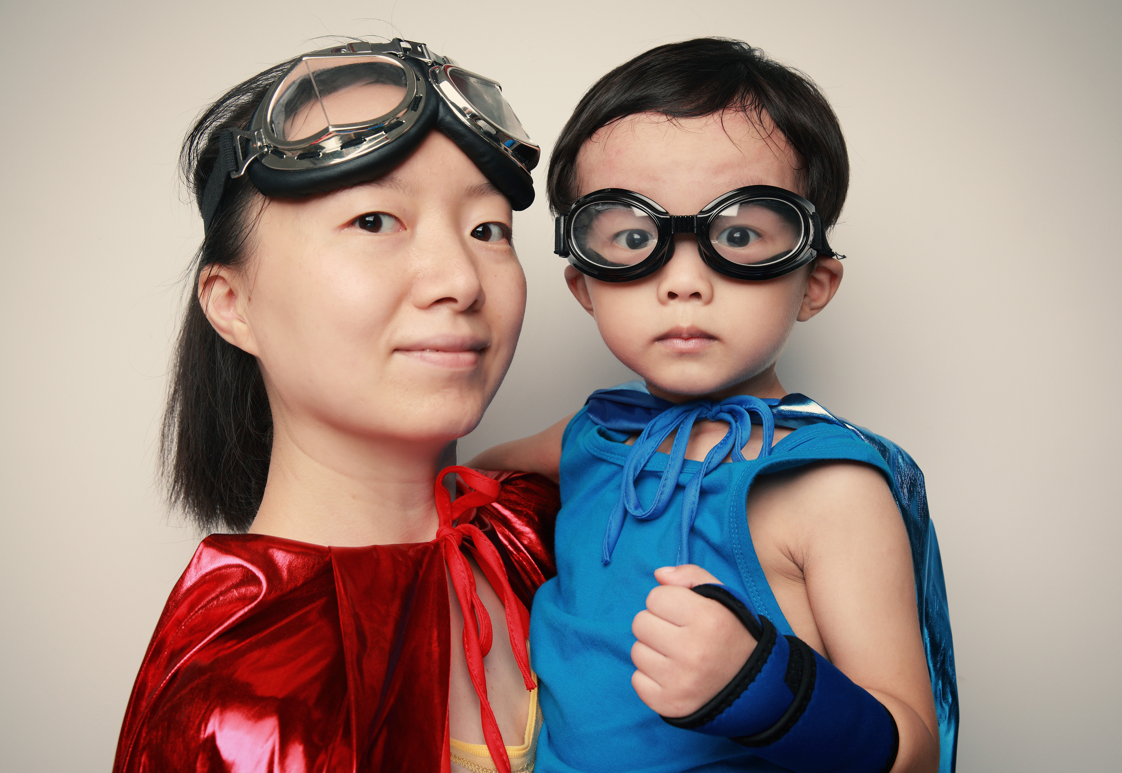 mother and son super hero costumes