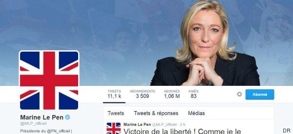 Après le Brexit, Marine Le Pen met l'Union Jack en photo de profil