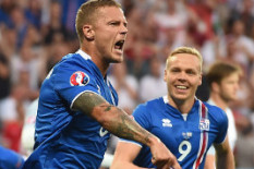 Iceland celebrate taking the lead | Pic: PA