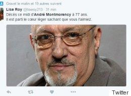 Twitter réagit au décès d'André Montmorency (VIDÉO)