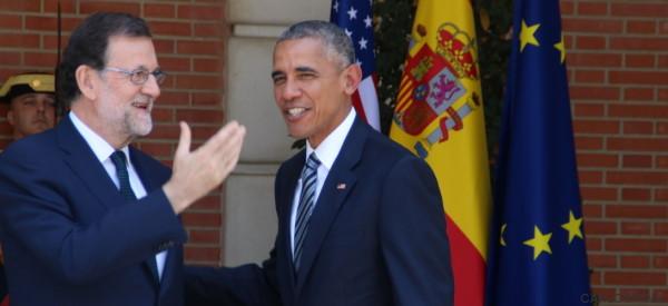 Saludos y sonrisas, el paso de Obama por Moncloa (FOTOS)