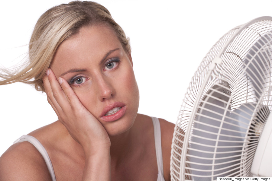 woman sweating summer