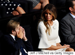 Melania Trump Gives Bored Son Stern 'Mom Look' During Dad's Speech