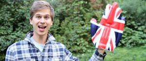 Young Waving English Flag