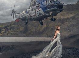 Un helicóptero se cuela en la foto de esta novia y el resultado es espectacular