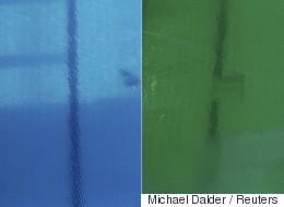 L'eau de la piscine olympique est devenue verte et personne ne sait pourquoi (VIDÉO)