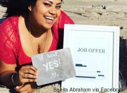 On n'a jamais vu une personne aussi heureuse d'avoir trouvé un emploi