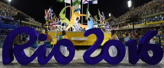 A SIGN OF THE RIO 2016 OLYMPIC IS SEEN IN FRONT OF