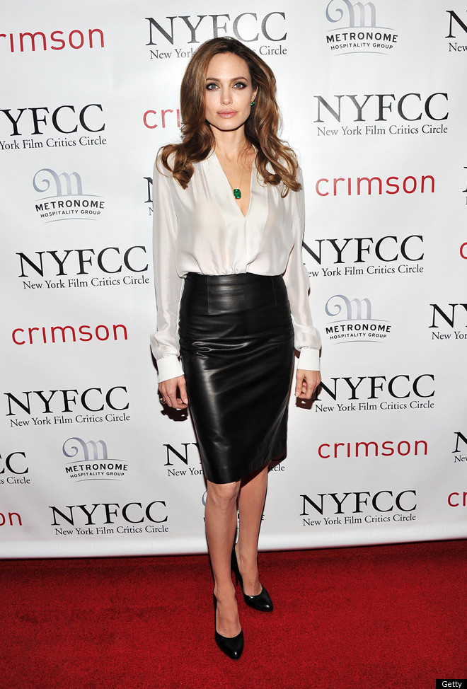 Angelina Jolie In A Skin-Tight, Leather Skirt: Look Of The ...