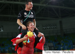 Canada's Erica Wiebe Knows How To Celebrate A Gold Medal Win