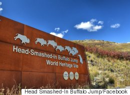 People Keep Shooting Head-Smashed-In Buffalo Jump's Welcome Sign