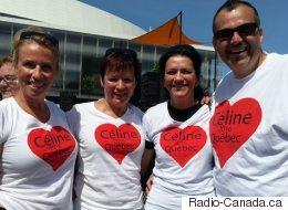 Beaucoup d'admirateurs accueillent Céline Dion au centre Vidétron