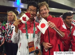 Evan Dunfee Poses With Japanese Rival And A Mitten, Warms Hearts