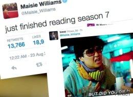 Maisie Williams commente sa lecture du script de la saison 7
