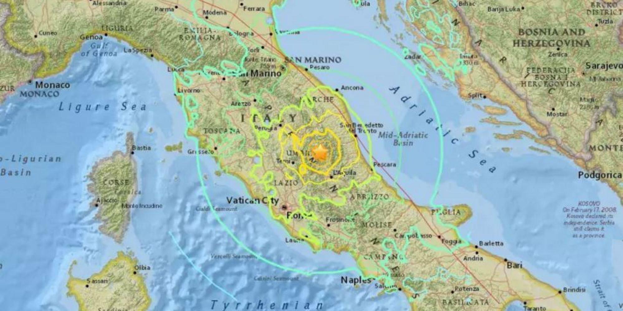 la mappa del sisma epicentro ad accumoli la provincia di