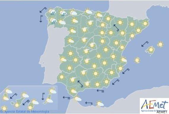 mapa del tiempo jueves 25 agosto