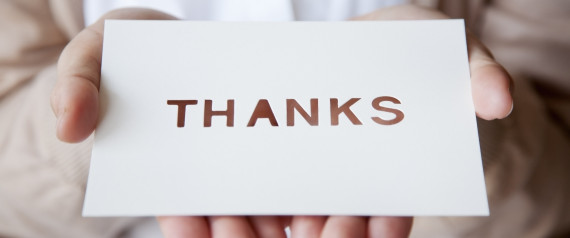 HOLDING THANK YOU CARD