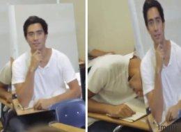 Dieser Schüler scheint den perfekten Weg gefunden zu haben, heimlich in der Schule zu schlafen