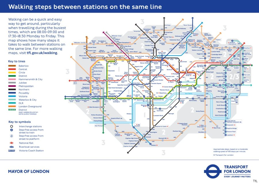 Tube Map Reveals Walking Distances Between Different London - Northern line map london