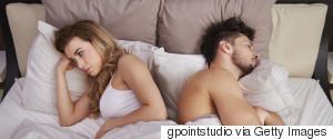 UNHAPPY COUPLE BED
