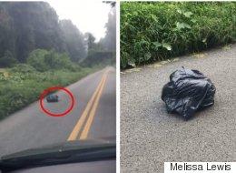 Cette femme voit un sac poubelle bouger et arrête sa voiture pour le sauver (VIDÉO)