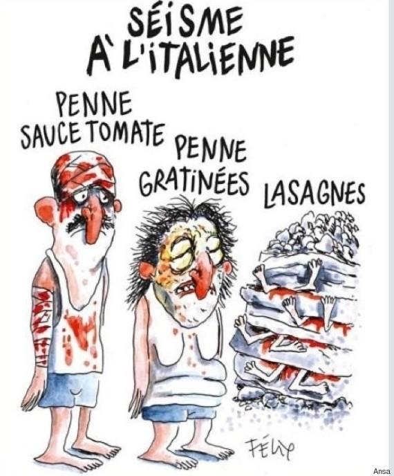 Charlie Hebdo non risparmia il terremoto in Italia