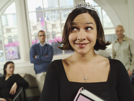 woman wearing tiara at work