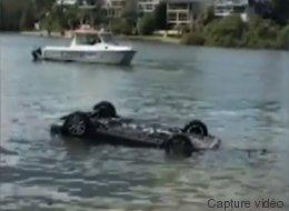 Sa voiture s'est retrouvée dans l'eau à cause d'une araignée (VIDÉO)