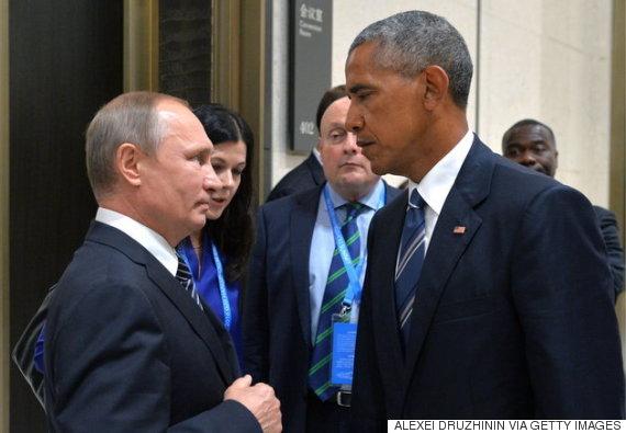 9月5日の中国でのG20サミットに合わせて行われた、ロシアのウラジーミル・プーチン大統領 (左) と、アメリカのバラク・オバマ大統領の会合の写真が、ネット上で拡散