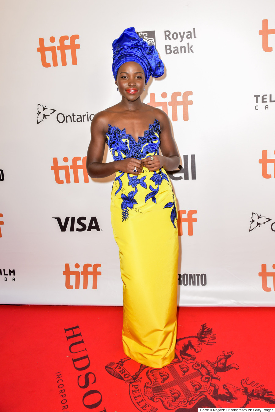 The dress he wore toronto - Donning An African Inspired Custom Vibrant Blue And Canary Yellow Strapless Gown From House Of Herrera The 33 Year Old Actress Said It Was Wonderful To