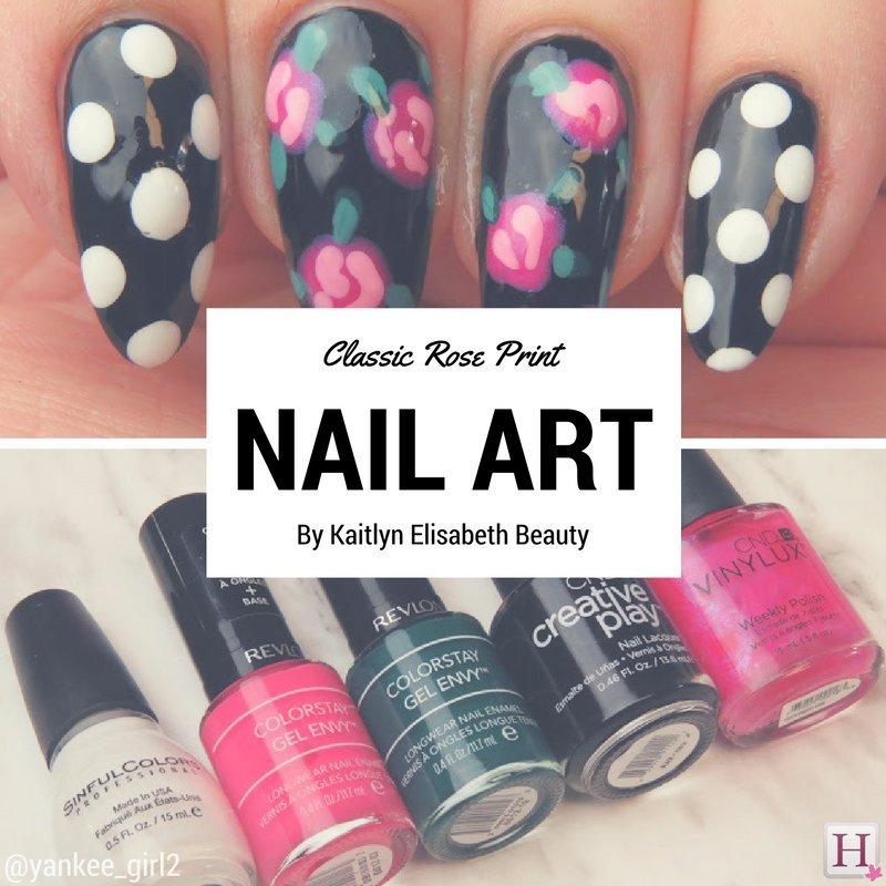 classic rose nail art