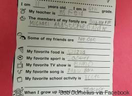 Le questionnaire déchirant de cet enfant autiste émeut le monde entier