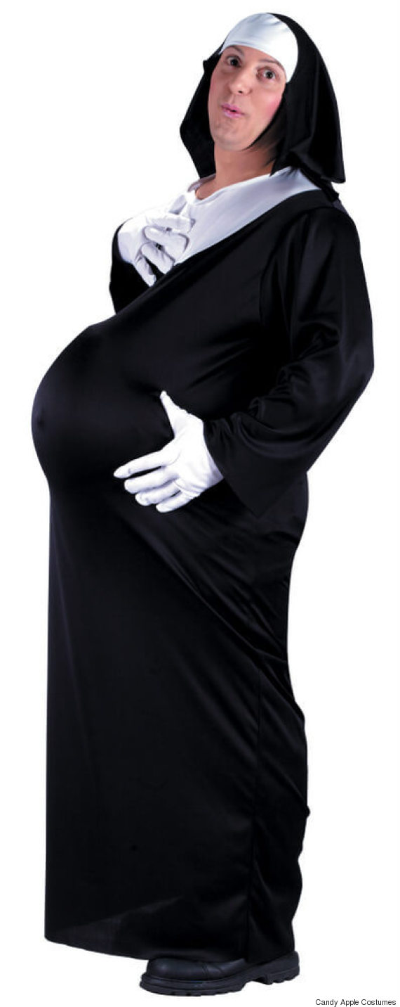 adult pregnant nun costume