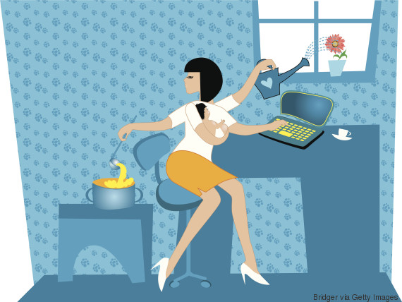 mother working at home illustration