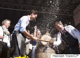 Trudeau Taps Oktoberfest Keg, Has Time Of His Life