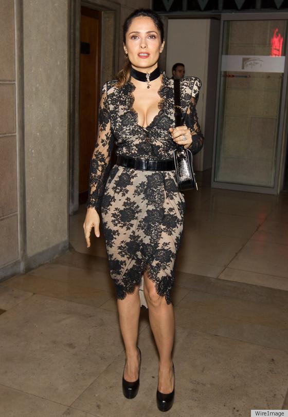 Salma Hayek At Prada Museum Launch In Stunningly Tight Black Lace ...