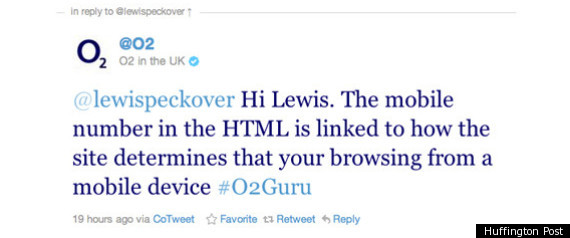 Lewis Peckover Twitter O2 Mobile Phone Privacy