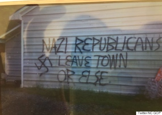 gop office vandalized nazi republicans