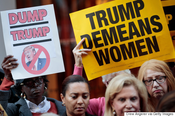 Activists rally during a protest against Republican presidential candidate Donald Trump for his treatment of women in front of Trump Tower on Oct. 17, 2016 in New York City. Multiple women have come forward recently alleging sexual misconduct against Trump. Trump has denied all allegations. (Photo: Drew Angerer/Getty Images)