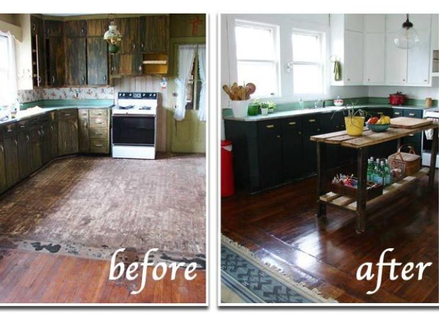 Remodeling mobile homes before and after for Old home kitchen remodel