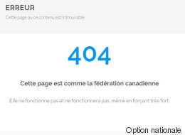 La fédération canadienne selon Option nationale: erreur 404!