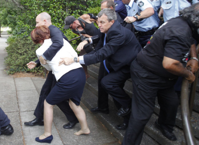 The Australian politicians had been stranded in the restaurant for ...