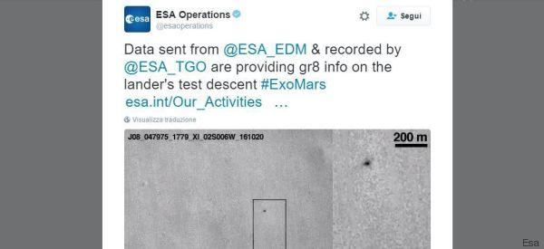 Schiaparelli, fotografato punto impatto con Marte