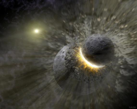 impact entre la terre et une protoplanète
