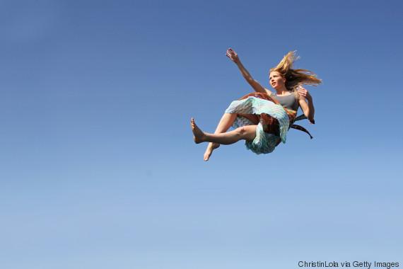 woman falling sky