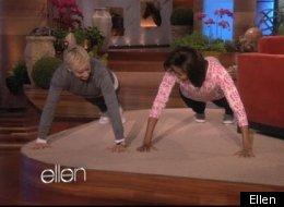 WATCH: Ellen Challenges Michelle Obama To Push Up Challenge. Who Won?