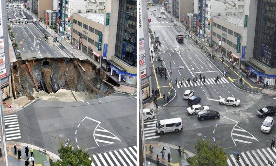 Giappone: l'enorme voragine sparisce in una sola settimana di lavoro