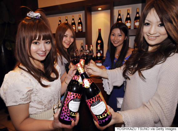 japanese women toast the 2009 vintage beaujolais