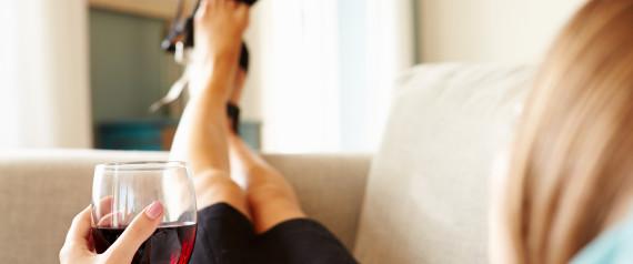 WOMAN RELAXING WINE