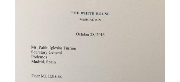 La carta que Obama le ha enviado a Pablo Iglesias